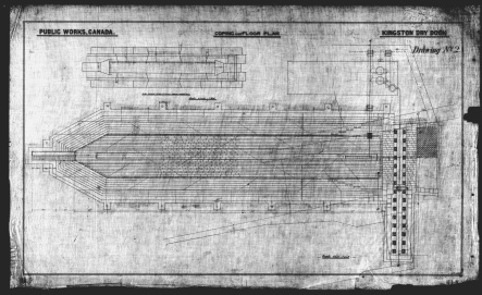 A copy of an ink on linen drawing prepared by Public Works showing the general layout of the to be constructed Kingston Dry Dock.